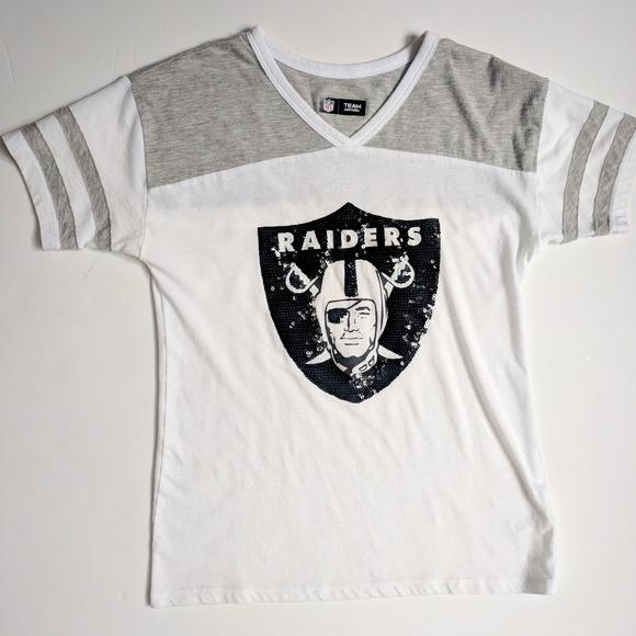 36f36c079 NFL Team Apparel Raiders Sequin T-Shirt Kids 8 10.  M 5b4aa3af4ab633755d4386e6